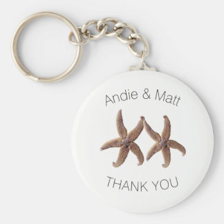 Two Starfish Thank You Key Ring Wedding Favor Basic Round Button Key Ring