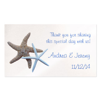 Two Starfish Wedding Reception Favor Tags Business Card Template