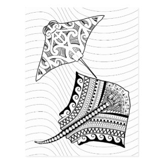 Two Stingrays Adult Coloring Postcard