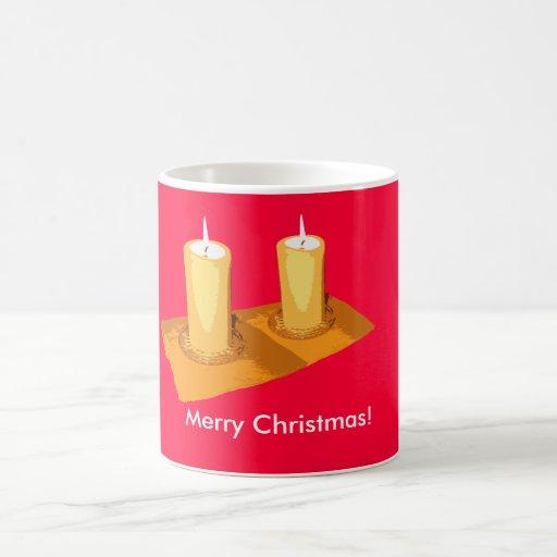 Two straight candles Christmas Mug