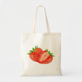 Two strawberries budget tote bag
