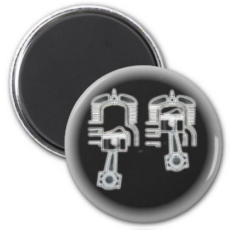 Two Stroke Engine 6 Cm Round Magnet