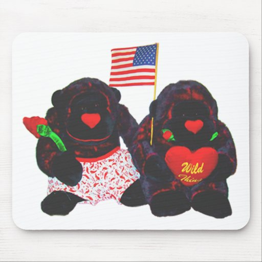 Two Stuffed Gorillas American Flag Mouse Pad
