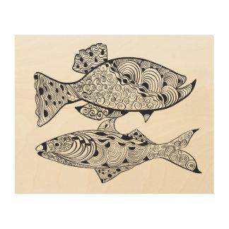 Two stylish fish wood wall decor