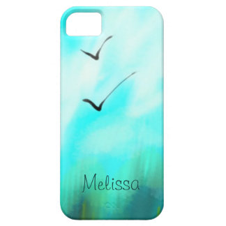 Two Summer Birds Flying Blue Watercolor Your Name iPhone 5 Cover