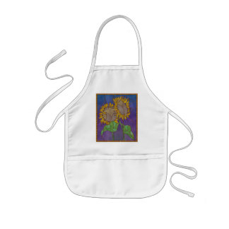 Two Sunflowers Stained Glass Look Kids' Apron