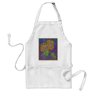 Two Sunflowers Stained Glass Look Adult Apron