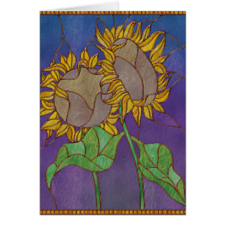 Two Sunflowers Stained Glass Look Greeting Card
