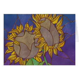Two Sunflowers Stained Glass Look Note Card