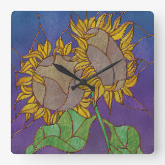 Two Sunflowers Stained Glass Look Square Wallclocks