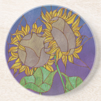 Two Sunflowers Stained Glass Look Beverage Coaster