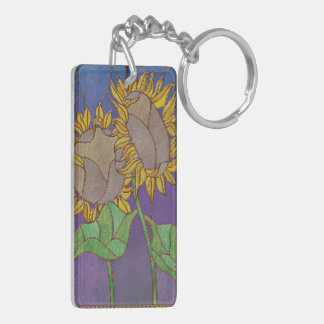 Two Sunflowers Stained Glass Look Double-Sided Rectangular Acrylic Key Ring