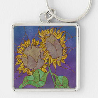 Two Sunflowers Stained Glass Look Silver-Colored Square Key Ring