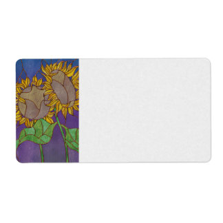 Two Sunflowers Stained Glass Look Shipping Label