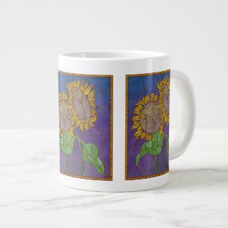 Two Sunflowers Stained Glass Look Jumbo Mug