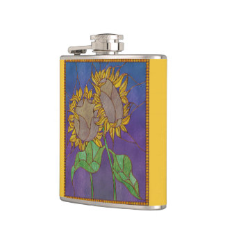 Two Sunflowers Stained Glass Look Hip Flasks