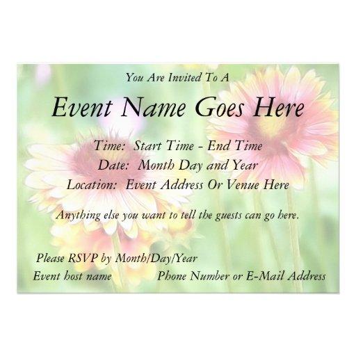 Two Sunny Blanket Flowers Custom Invites