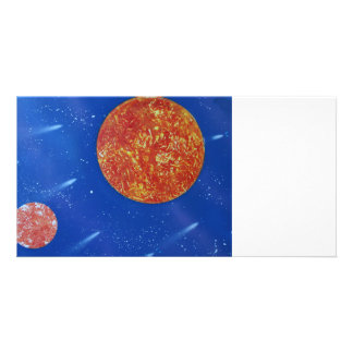 two suns blue background spacepainting picture card
