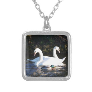 Two Swans And A Duck Silver Plated Necklace