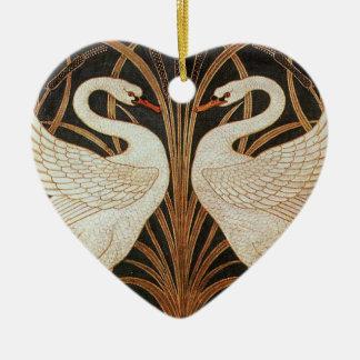Two Swans by Walter Crane vintage illustration Ceramic Ornament