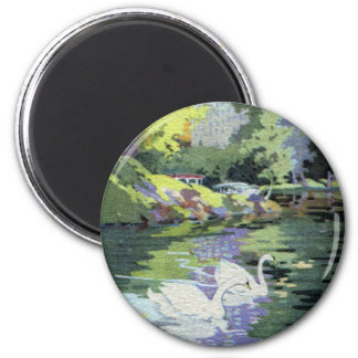 Two Swans in Central Park Lake 6 Cm Round Magnet