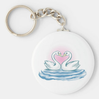 Two  Swans Swimming Basic Round Button Key Ring