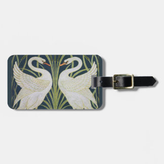 Two Swans Vintage Nouveau Birds Luggage Tag