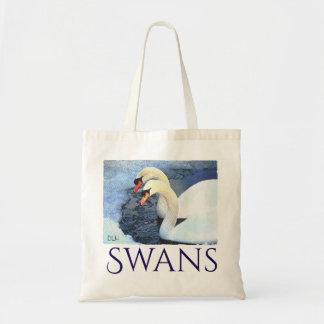 Two Swans/ Watercolor Look/ Wildlife Art Tote Bag