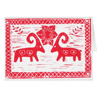 Two Swedish Yule Goats Card