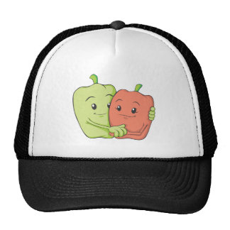 Two Sweet Bell Pepper Lovers Hugging Mesh Hat