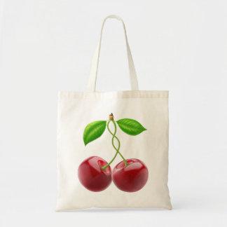 Two sweet cherries budget tote bag