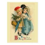 """Two Sweet Children"" Vintage Christmas Postcard"