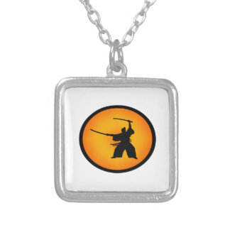 Two Swords Silver Plated Necklace