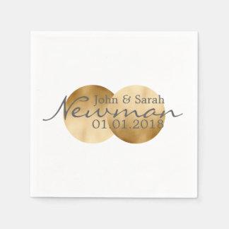 two symmetrical faux gold fold foil circles disposable napkin
