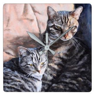 Two Tabby Cats Fine Art Wall Clock