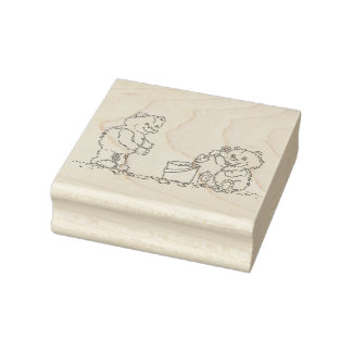 Two Teddy Bears at the Beach Building Sand Castles Rubber Stamp