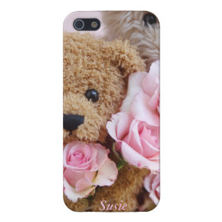 two teddy bears holding roses iPhone 5 cover