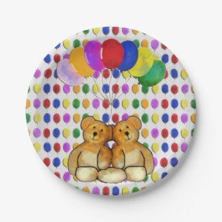 Two Teds and Some Balloons 7 Inch Paper Plate