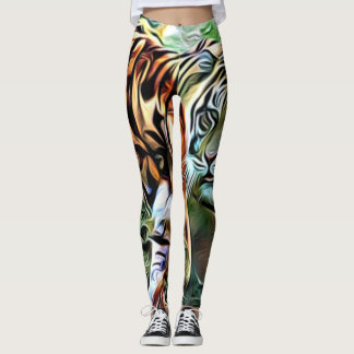 Two tigers faces Leggings