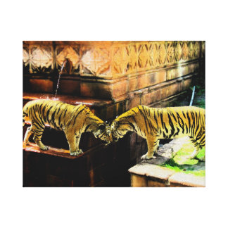 Two Tigers Oil Painting Effect Canvas Print