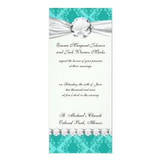 two tone aquamarine blue aqua diamond damask custom announcements