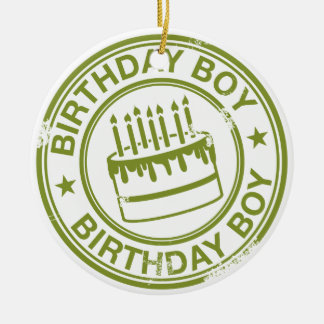 Two Tone Birthday Boy rubber stamp effect Round Ceramic Decoration