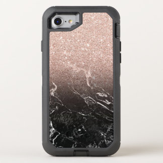 Two Tone Black Marble and Pink Glitter OtterBox Defender iPhone 8/7 Case