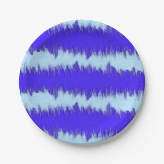 Two Tone Blue Pulse 7 Inch Paper Plate