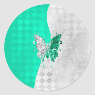 Two Tone Butterfly in White and Teal Round Sticker