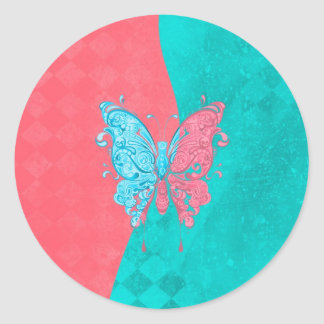 Two Tone Butterfly Pink and Teal Round Sticker