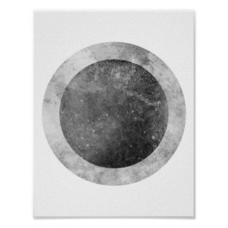 Two tone Circle Gray and Black Poster