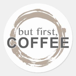 Two-Tone Coffee Mug - But First Coffee Round Sticker
