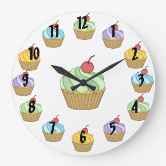 Two Tone Cupcakes Large Clock