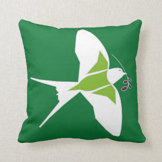 Two tone cushion with swallow bird